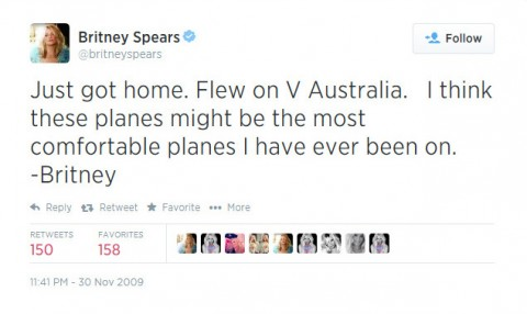 A Happy Britney Spears Tweets @VAustralia