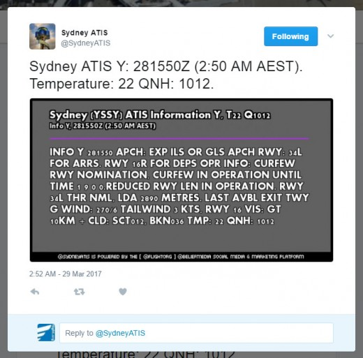 Sydney ATIS Report