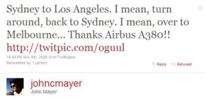 John Mayer Tweets about Qantas and the A380
