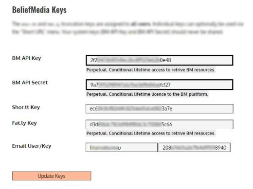 BeliefMedia Administration Keys