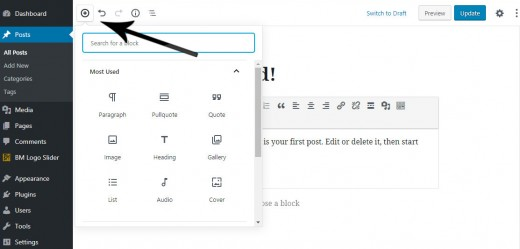 Add a Gutenberg block Primary Menu