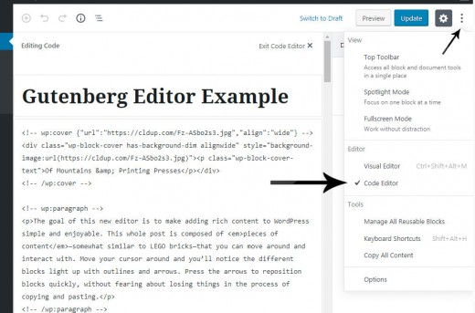 Gutenberg code editor