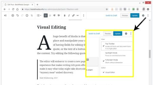 Gutenberg fullscreen editing