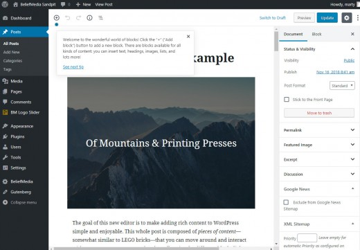 Sample Gutenberg WordPress Post