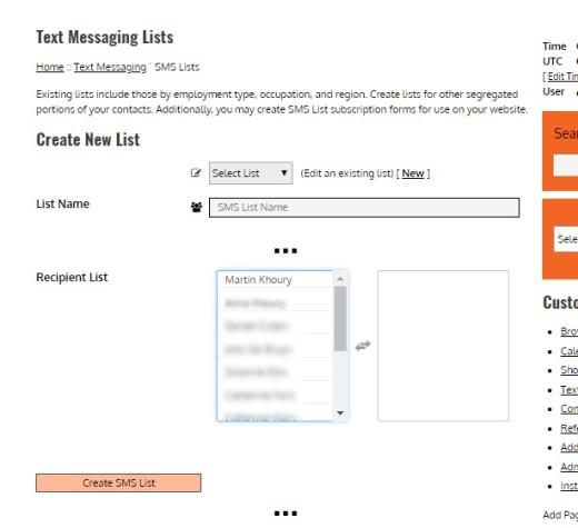 Platform SMS Lists