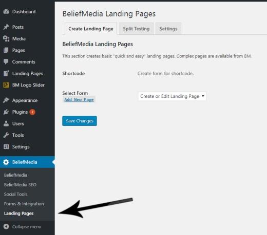 Landing Pages Menu