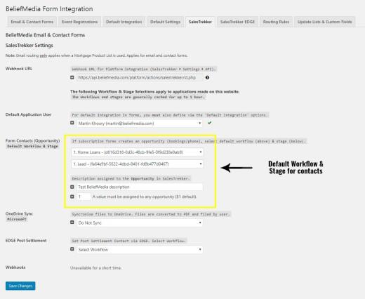 SalesTrekker Contact Stage & Workflow