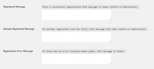 Event Form Messages