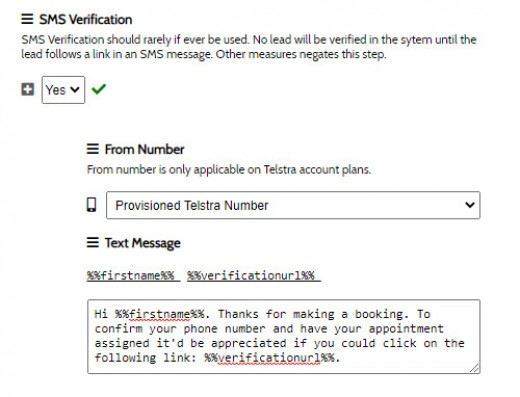 SMS Form Verification
