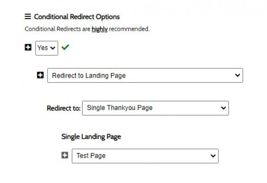 Form Conditional Redirection Single Page
