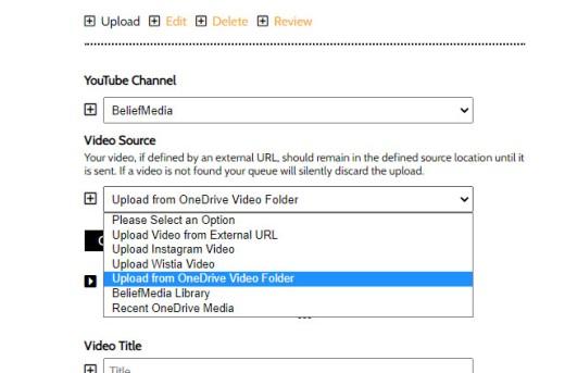 YouTube Upload Options