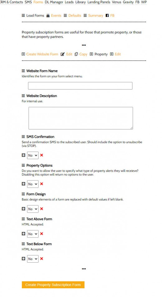 Creating Property Subscription Forms