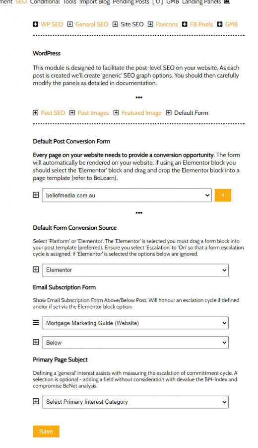 Default Website Post Form