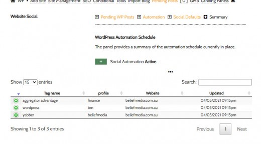 Website Social Automation