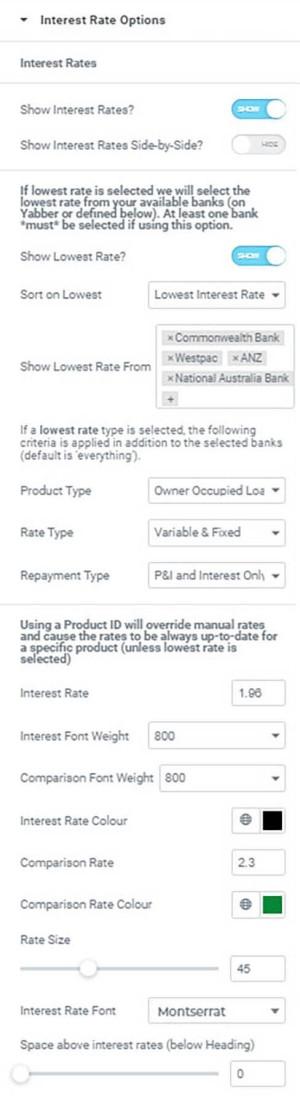 Interest Rate Website Options