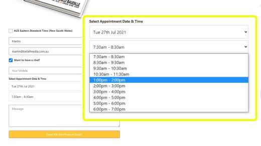 Calendar Booking Form