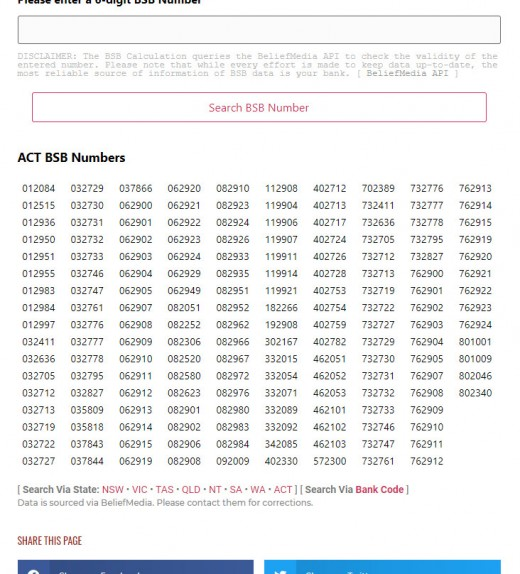 ACT BSB Numbers