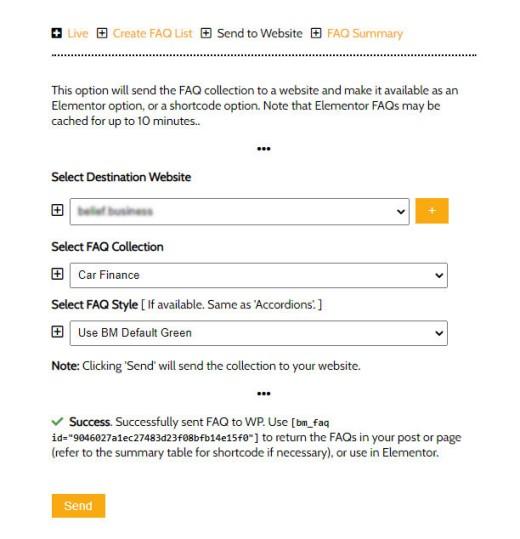 Send FAQ Accordion Website