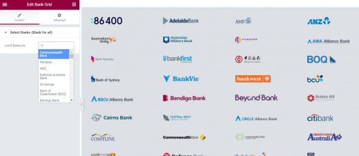 Bank Grid Elementor