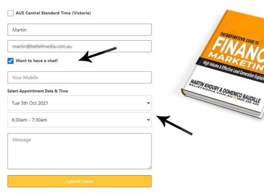 Integrated Website Calendar Form
