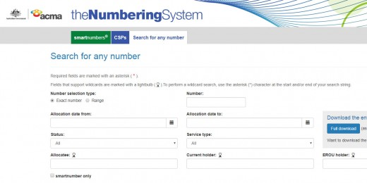 Search Australian Smart Numbers