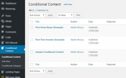 Conditional Content Post Type