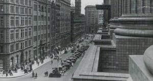 View of Martin Place from the balcony of the Government Savings Bank of New South Wales, 1928.