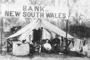 A Bank of New South Wales 'tent branch' in the goldfields at West Wyalong.